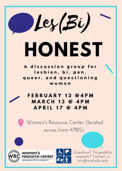 Les(Bi) Honest discussion group. Contact wrc@sdsu.edu