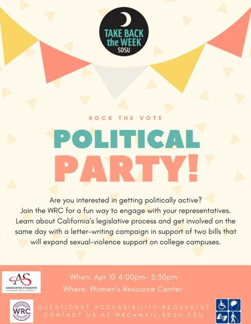 political party apr 10 4p at women's resource center - see below for details