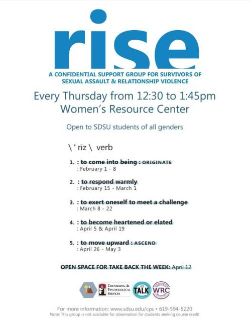 RISE Every Thurs 12:30 pm -see below for details