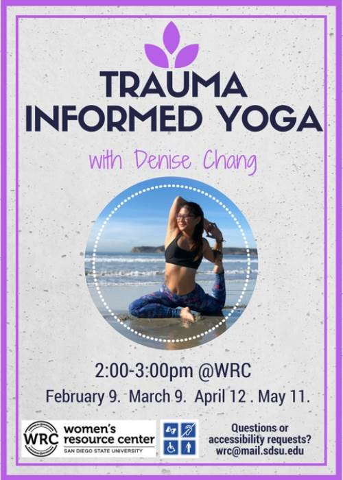 Trauma Informed Yoga 2/9, 3/9, 4/12, & 5/11, 2-3pm see below