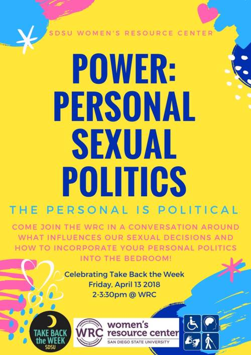 Power: Personal Sexual Politics Apr13, 2018  2pm see details below