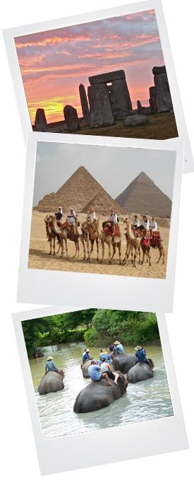 Stonehenge, Pyramids, river