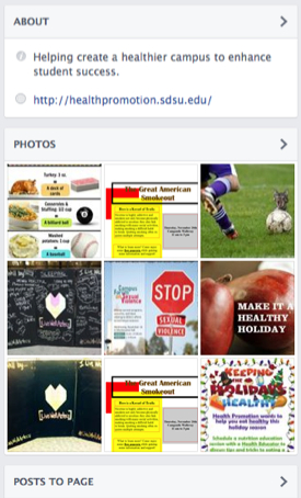 Health Promotion Facebook page: includes several related Facebook photos