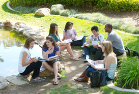 photo: students near Scripps Cottage pond