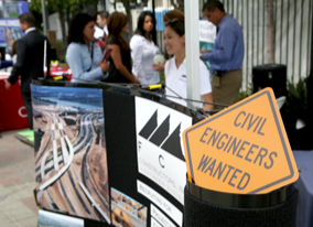 Photo: Sign at hiring fair reads