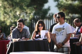 Photo: Parents and student at Family Weekend