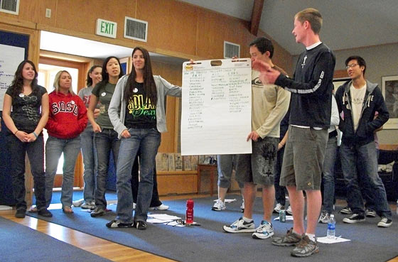 Photo: students at a leadership retreat