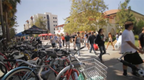 Photo: students and bicycles at SDSU