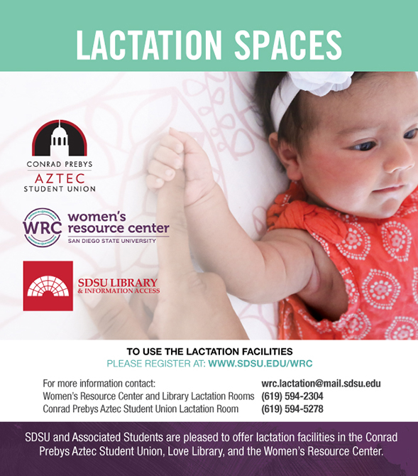 lactaction spaces available in the Aztec Student Union - see below for details