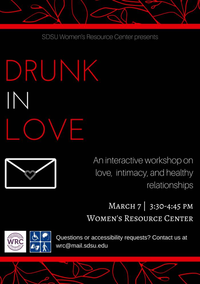 drunk in love interactive workshop on relationships mar 7 3:30p WRC